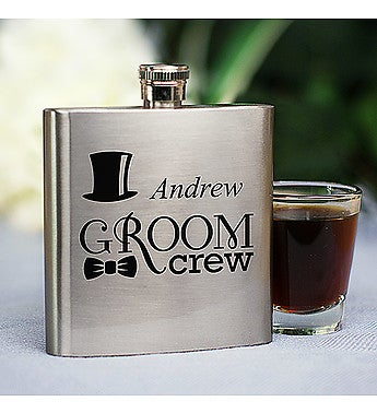PERSONALIZED GROOM'S CREW FLASK
