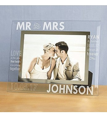 MR. AND MRS. ENGRAVED SLIM GLASS FRAME
