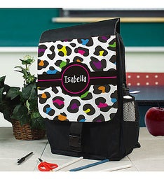 Personalized Multicolored Leopard Print Backpack