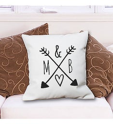 Arrows & Initials Personalized Throw Pillow