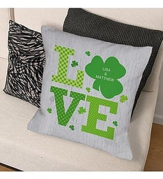 Personalized Shamrock Love Throw Pillow