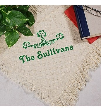 Embroidered Shamrock Green Irish Afghan