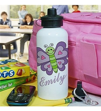 PERSONALIZED HEART BUTTERFLY WATER BOTTLE