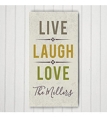 PERSONALIZED LIVE LAUGH LOVE CANVAS
