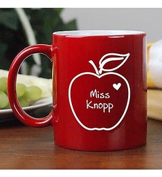 APPLE OF MY HEART PERSONALIZED TEACHER MUG
