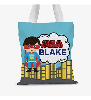 Superheroes Personalized Kids Tote Bag