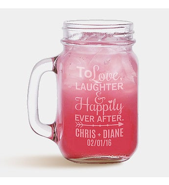 Personalized Happy Couple Mason Glass Jar