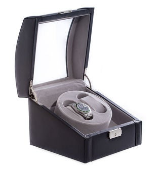 Personalized Black Leather 2 Watch Winder With Glass Top and Locking Clasp