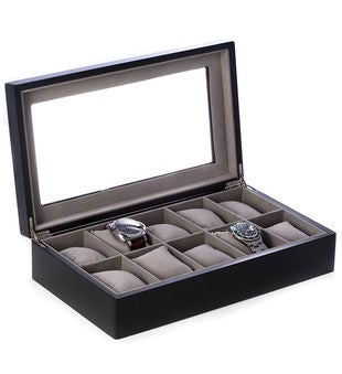 Matte Black Wood 10 Watch Box with Glass Top and Velour Lined.