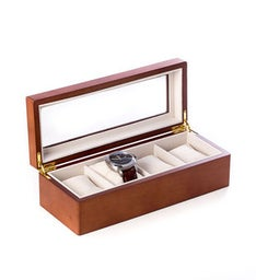 Cherry Wood 4 Watch Box with Glass Top and Velour Lining  Pillows