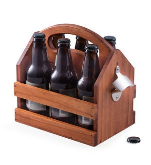 Personalized Brown Solid Wood Beer & Beverage Caddy