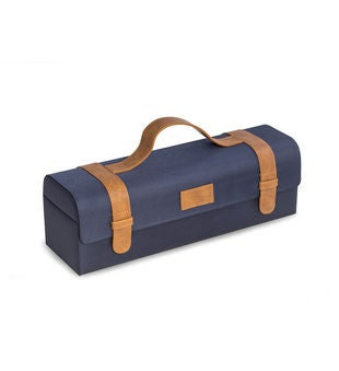 Blue Ballistic Nylon & Brown Leatherette Bottle Caddy
