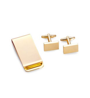 Rectangular Design Cufflinks & Money Clip Set, Gold Plated.
