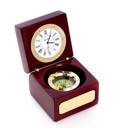Navigator Clock wCompass in Wood Box TP