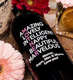 Amazing Lovely Mothers Day Personalized Wine Bottle