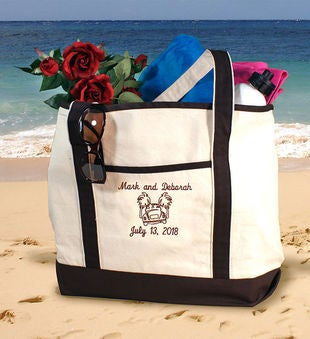 Personalized Honeymoon Beach Tote Black