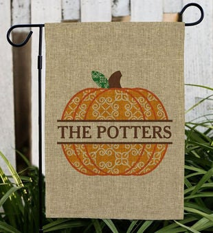 Personalized Pumpkin Burlap Flag