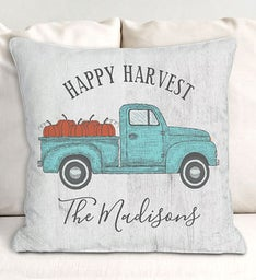 Happy Harvest Truck Personalized Throw Pillow