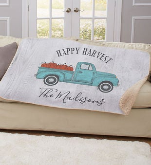 Happy Harvest Truck Personalized Sherpa Throw