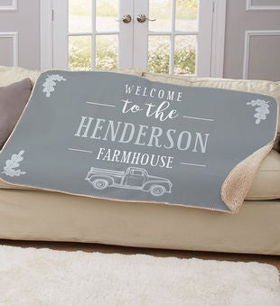 Personalized Welcome to the Farmhouse Sherpa Throw