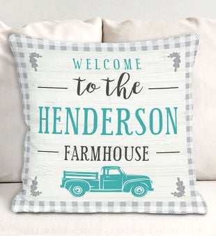Personalized Welcome Truck Throw Pillow