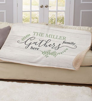 Personalized Family Gathers Sherpa Throw Blanket