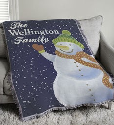 Personalized Snowman Tapestry Throw