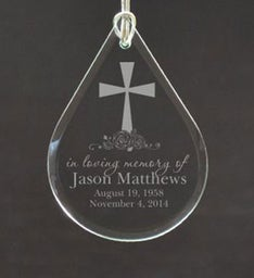 Personalized Loving Memory Tear Drop Ornament