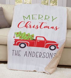 Personalized Merry Christmas Red Truck Blanket