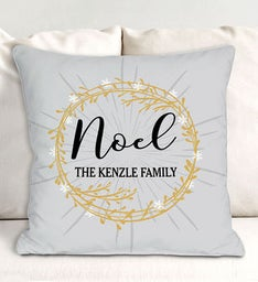Personalized Noel Wreath Throw Pillow