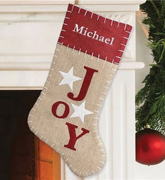 Personalized Joy Burlap Stocking