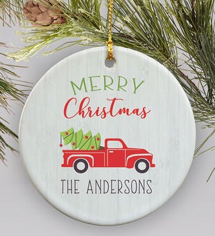 Personalized Round Ornament Red Truck