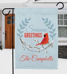 Personalized Seasons Greetings Cardinal Garden Flag