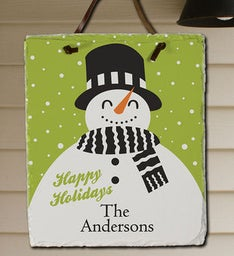 Personalized Snowman Holiday Slate Plaque