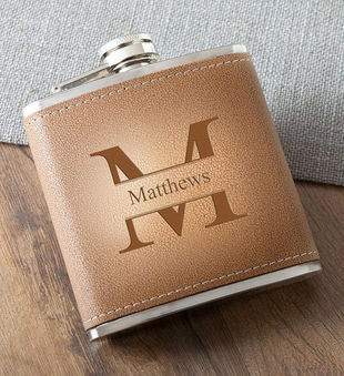 Durango Monogrammed 6 Oz. Leather Hide Flask