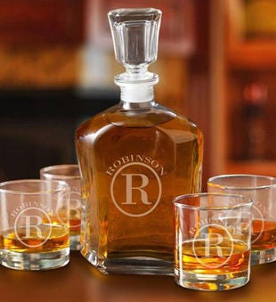 Personalized Decanter Set With 4 Lowball Glasses