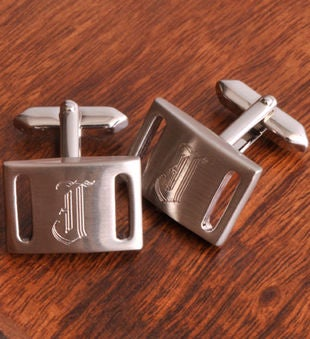 Personalized Brushed Silver Engraved Cufflinks