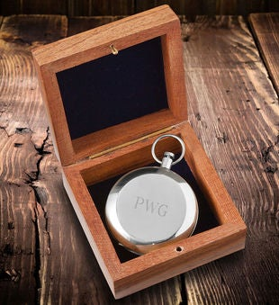 Personalized High Polish Silver Keepsake Compass