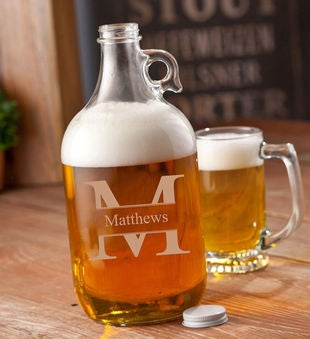 Personalized Clear Glass Beer Growler