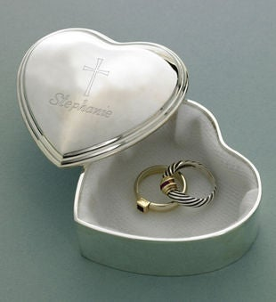 Inspirational Heart Trinket Box W/ Engraved Cross