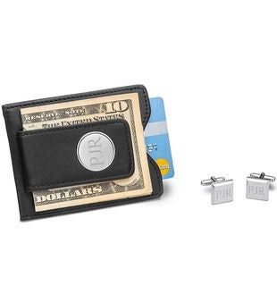 Personalized Black Leather Wallet And Cuff Links