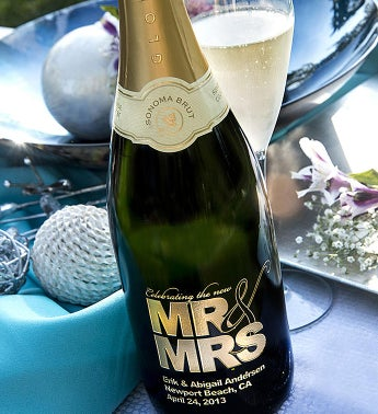 Mr. & Mrs. Personalized Wine Bottle