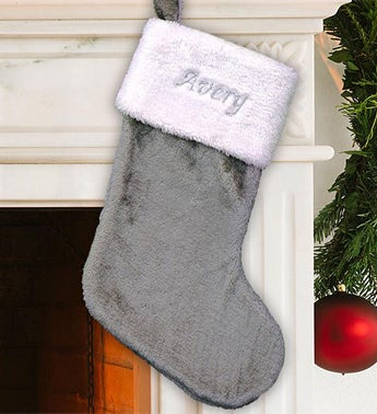 Embroidered Gray Plush Stocking