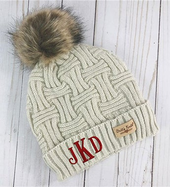 Embroidered Initial Cable Knit Oatmeal Hat