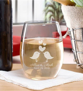 Personalized Love Birds Stemless Wine Glass