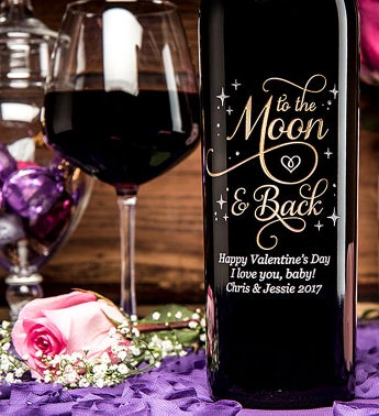 Engraved To The Moon & Back Wine Bottle