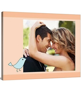 Lovebirds Peach Premium Canvas