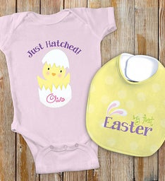 Pink Personalized My First Easter Bib Set