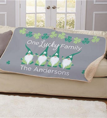 Personalized Lucky Shamrock Family Gnome Sherpa Blanket