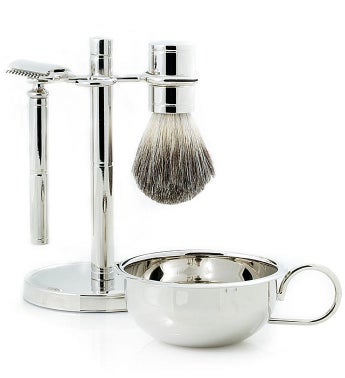 Personalized Safety Razor with Soap Dish and Badger Brush